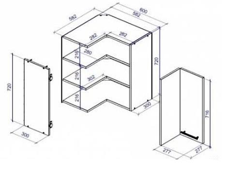 Как сделать угловой верхний кухонный шкаф схемы чертежи