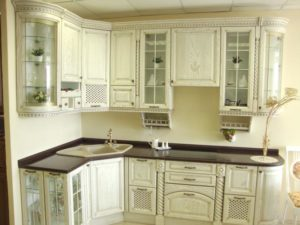 Кухня фасад ясень белая патина